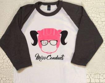 0ecf04aa48fecb Miss Conduct s Girl Goon Grey and White ultra soft Raglan Hockey Shirt