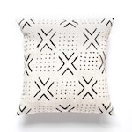 African Mud Cloth Pillow Cover:  Passages Design, Authentic Handwoven Decorative Cotton, Mud Cloth, White, Black, Tribal Design
