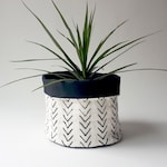 Large Mud Cloth Planter, African Mudcloth, White, Plant, Holder, Handmade, Authentic, Range Design, Geometric Pattern
