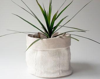 African Mud Cloth Planter-Large, Mudcloth, White, Plant, Holder, Handmade, Authentic,Plain