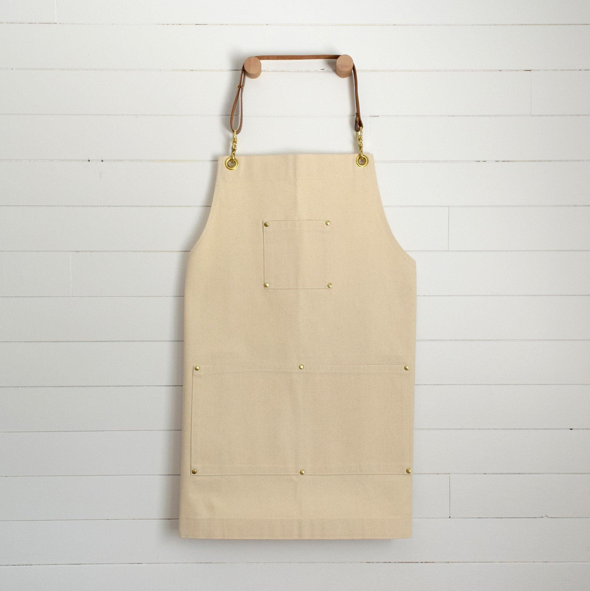 Craftsman Apron   Cream Cotton Canvas, Leather Straps