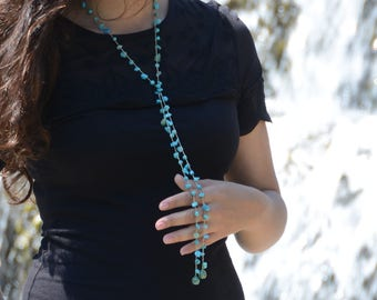 Boho Style Natural Turquoise  Necklace, Navy Blue Chocker Necklace, Turquoise Blue Jewelry Necklace, Long Beaded Wrap Necklace, Gift for mom