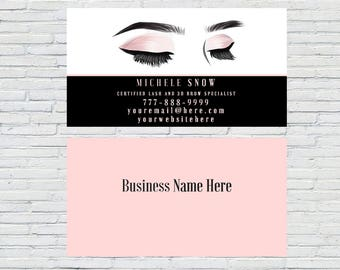 eyelash business card business card beautician business card esthetician printable download personalized lash extensions - Lash Extension Business Cards
