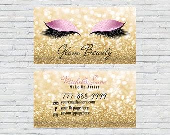 Gold Makeup Artist Business Card, Lash Extensions, Make up Artist, Esthetician, 3D Lashes, Digital File, Download, Printable, Lash Lady