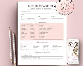 Facial Consultation Form, Facial Forms, Esthetician Consent Forms, Client Information Form, Client Intake Form, Skin Care Consultation Forms