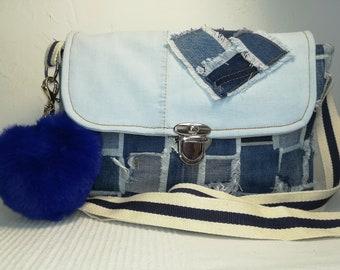 Reclaimed jeans shoulder bag