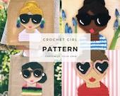 Crochet Patterns, Doll Face, Crochet For Woman, Crochet Appliqué, Crochet Portrait Art, Crochet Girl Doll, PDF Crochet Pattern Easy
