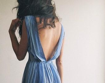 Moody Dress | 1950s Vintage Backless Sheer Blue Striped Cotton Voile Cap Sleeve V Neck Gathered Full Skirted Midi Sundress | XS/S