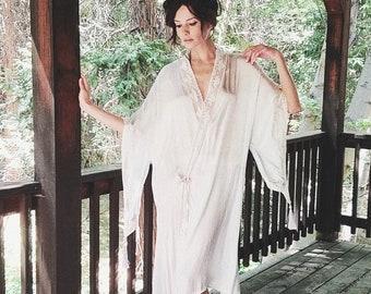 Angel Robe | 1920s Vintage RARE Wizard Sleeve Silky Rayon Rosebud Button Lace Inset Tassel Pointy Kimono Flapper Boudoir Robe | One Size