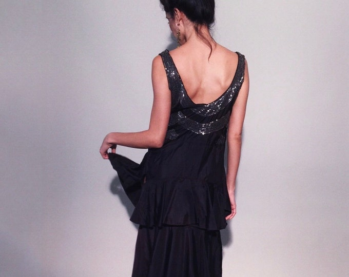 ON LAYAWAY! | Nola Gown | 1920s Vintage Beaded Sequin Scoop Back Ruffle Drop Waist Sweeping Midnight Plum Taffeta Dress | Size S