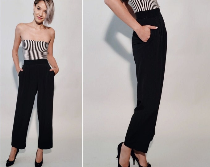 Jetset Pants | 1980s Vintage Black Rayon Swishy High-Waisted Pleated Pockets Slim Wide Leg Cropped Ankle or Petite Trousers | Size XXS