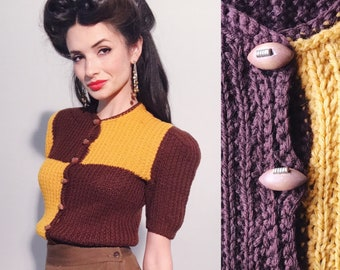 Football Sweater | 1930s Vintage Wooden Football Button Puff Sleeve Color Block Wool Cuffed Waist Cheerleader Cardigan Sweater | Size XXS/XS