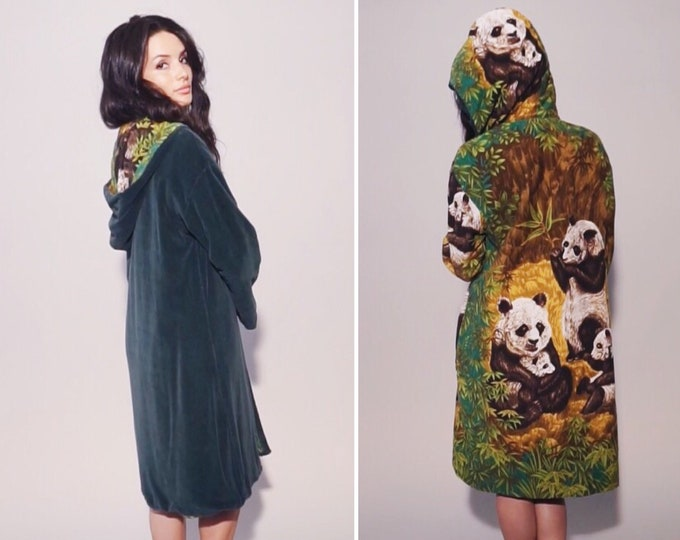 Zen Cover Up Coat | 1970s Vintage Panda Barkcloth Reversible Velour Hooded Hip Length Open Front Robe Festival Jacket | Size M