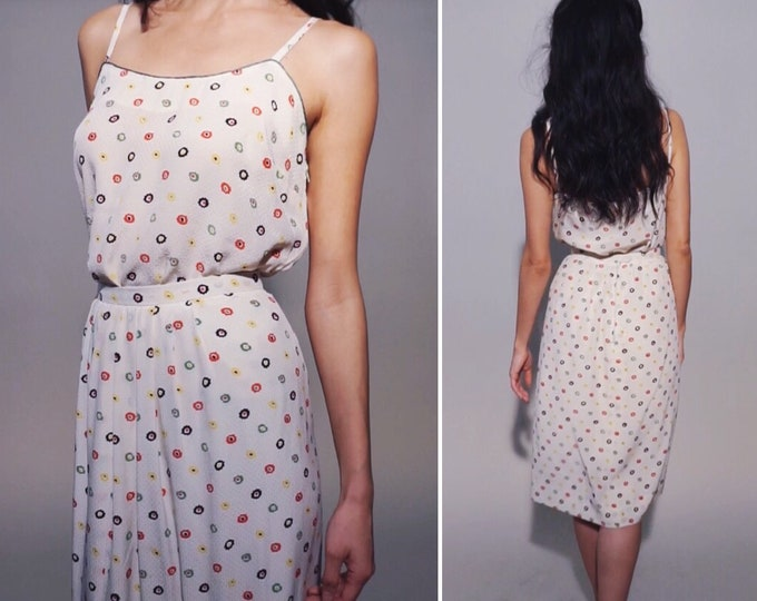 Flora-Fetti Set | 80s Vintage Flower Dotted Silky Swish Midi Skirt + Matching Spaghetti Strap Cami Two Piece Set | Size XS/S