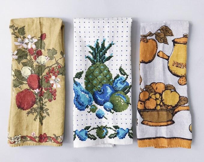 Trio of Tea Towels | Set of 3 Vintage Linen Fruit, Floral, and Honey Kitchen Bread Basket Tea Towels | Kitsch, Floral, '70s