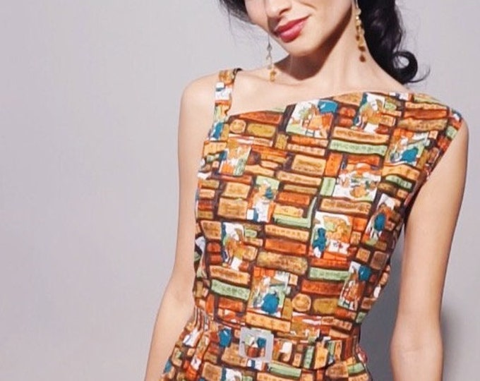 Shanghai Dress | 1950s Vintage Asian Novelty Print Single Shoulder Asymmetrical Belted Full Skirt Day Dress | Size M