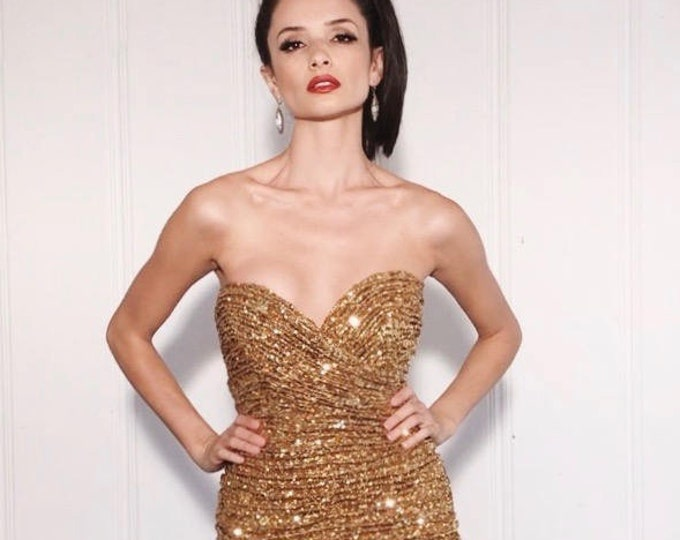 Vicky Tiel Dress | 1990s Vintage Gold Sequin Strapless Plunge Ruched Mini Bodycon Designer Holiday Trophy Dress | Size M