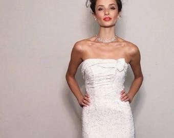Tinseltown Dress | 1950s Vintage White + Silver Long Strapless Wiggle Dress | Size XS
