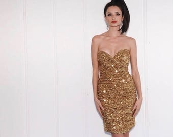 Trophy Wife Dress   1980s Vicky Tiel Gold Sequin Strapless Ruched Mini Dress   Size M