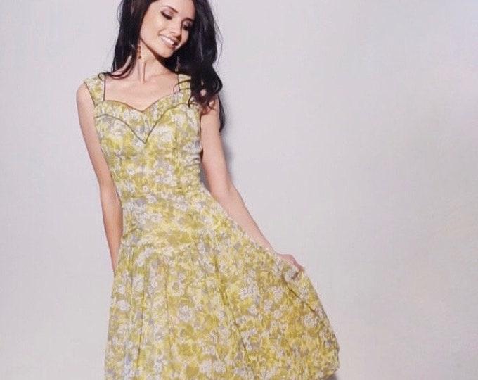 Lemon Drop Dress | 1950s Vintage Drop Waist Sleeveless Sweetheart Neckline Tulle Skirt Yellow Gray Floral Party Dress | Size M