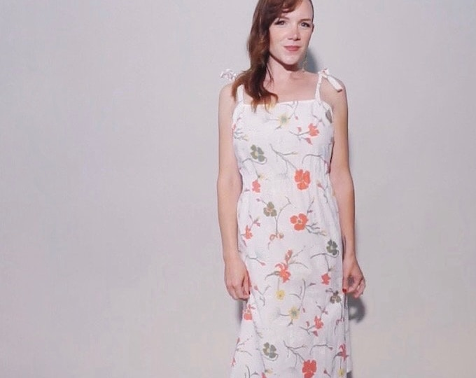 Flowers + Bows Dress | 1970s Vintage White Cotton Floral Adjustable Bow Tie Strap Midi Sun Dress | Size XL