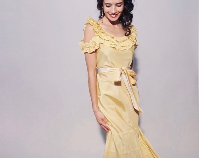 Maybelle Dress | 1930s Vintage Flower Garland Off Shoulder Cutout Ruffle Collar Sash Belt Tiered Lemon Yellow Gown | Size XS/S