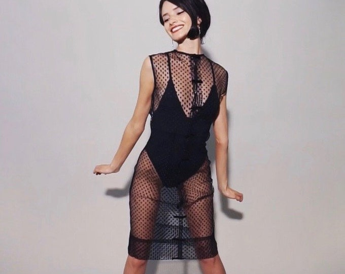 Hepburn Dress | 1960s Vintage Sheer Netting Polka Dot Mini Bow Snap Front Sleeveless Black Illusion Dress | Size XS/S