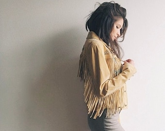 Telluride Fringe Jacket | Early-2000s Turquoise Concho Beaded Fringe Buckskin Suede Hourglass Fit Studded Leather Jacket by Overland | S