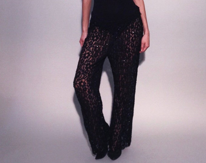 Fancy Pants | 1980s Vintage Beaded Sequin Sheer Black Lace See Through High or Low Rise Wide Leg Sexy Pants | One Size Fits Most