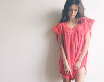 Double-Tap Cover-Up | 1970s Vintage Heart Button Terrycloth Red Lace Babydoll Swimsuit Cover-Up Poolside Mini Dress | One Size Fits Most