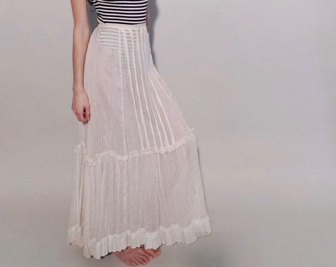 Colette Petticoat | 1900s Antique Edwardian Lace Stripe Diamond Netting Ruffle Sheer Cotton Lawn Ivory Maxi Skirt | Size XXS/XS