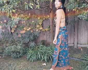 Aiyana Wrap Skirt | 1980s Vintage 'Circle T by Marilyn Lenox' Southwestern Floral Leather Fringe Full Length Sarong Maxi Skirt | Size XS/S