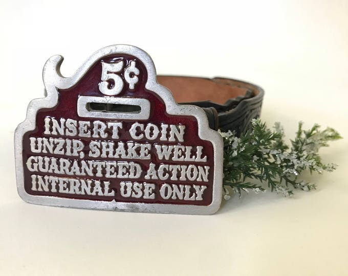 Shake Well Buckle | 1970s Vintage Risque Maroon + Silver Adult Humor Removable Belt Buckle | One Size