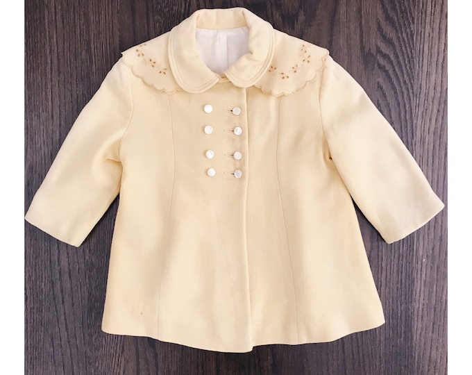 A Little Princess Coat | 1930s-40s Vintage Buttercup Yellow Double Breasted Pearly Button Scalloped Baby Girl's Pea Coat | Size 18m - 4T