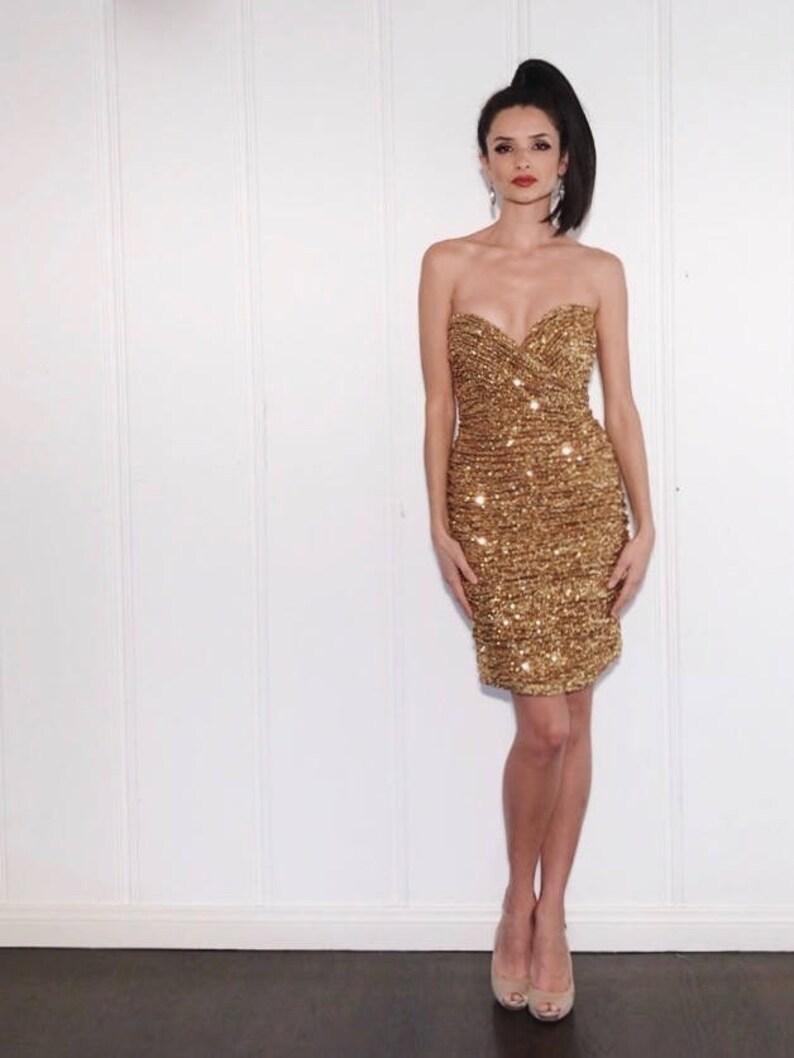 c59ea3568b3be Vicky Tiel Dress 1990s Vintage Gold Sequin Strapless Plunge | Etsy