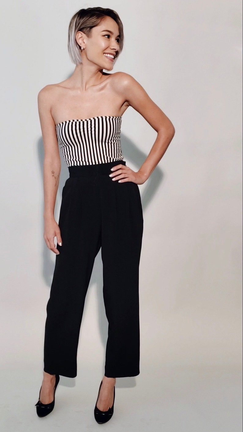Jetset Pants 1980s Vintage Black Rayon Swishy High-Waisted Pleated Pockets Slim Wide Leg Cropped Ankle or Petite Trousers Size XXS