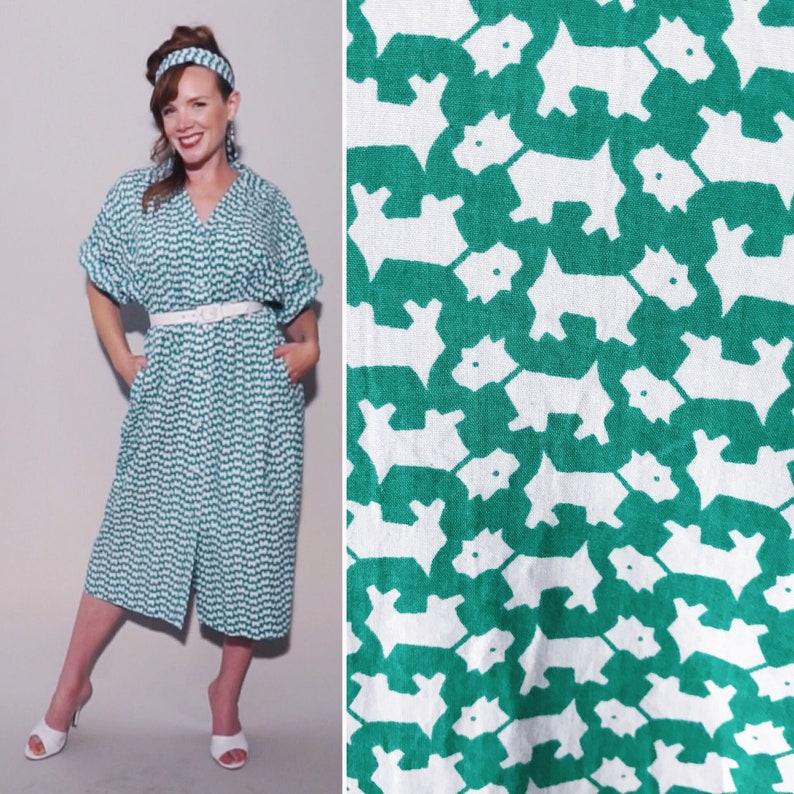 Scottie Dog Dress 1960s Vintage Novelty Print Kelly Green | Etsy