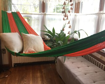 Beach Hammock, vibrant green orange color Hammock, interlooping hammock,  outdoor hammock. supper big 2+ people.