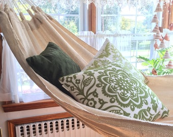 100% Cotton Thread Hammock, Hand Woven Ecru  Cream Solid Color minimalist hammock, outdoor hammock.