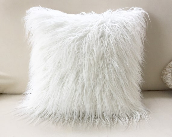 Luxury White Faux Fur Pillow Christmas Decorative Pillow Etsy