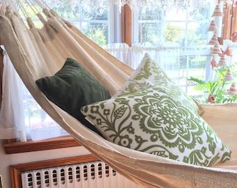 100% Cotton Thread Hammock, Hand Woven Ecru/ Cream Solid Color minimalist hammock, outdoor hammock.
