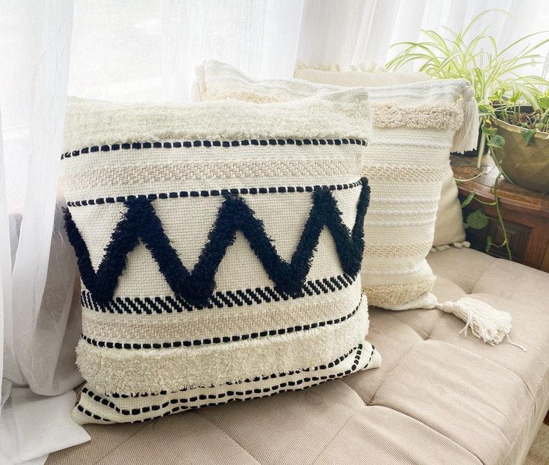 18x18 Pillow Cover white natural cotton and black Pillow Case Texture Boho pillow trim  design cotton Pillow Cover