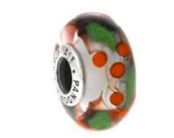 Pandora Charms Authentic Christmas Holly Murano Glass Bead Charm