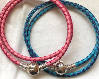 89c8c5c00 Pandora Bracelet, Pink or Blue Braided Leather, Double Wrap Bracelets, Leather  Double Wrap, Close Out Price Bracelet