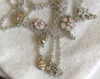 239f72f3d Pandora Necklace, Poetic Bloom Spring Necklace, Floral Necklace, Silver  Necklace
