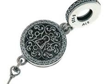 363220f4b Pandora Charms, Regal Love Key Locket Dangle Charm, Clear CZ #797660,  Authentic