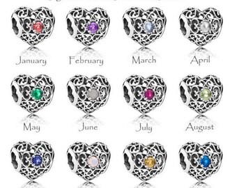 0dc74b45c Pandora Charms, Birthstones, Heart Birthstones,Pandora Birthstones, 925  Sterling silver, Authentic