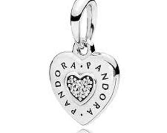 095cb7639 Pandora Charms, Signature Heart Pendant, Pandora Heart Charm, Silver Charm,  Authentic