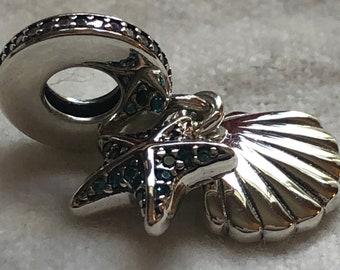 6ce84bf69 Pandora Charms, Tropical Starfish, Sea Shell Dangle, Beach Charm,Silver  Charm, Authentic
