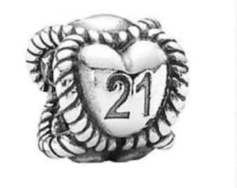 c30d97580 Pandora Charms, 21st Birthday, Milestone Charm, Birthday Charm,925 Sterling  Silver Charm, Authentic